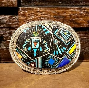 Multi Stone Inlay Buckle by Ray Jac